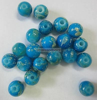 20 Acrylic Beads 8mm Round Bead In Turquoise BNIP Jewellery Making & Craft FB025