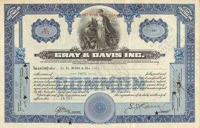 Gray & Davis > old auto parts stock certificate share