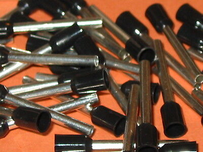 BLACK 1.5mm x 18mm (EXTRA LONG PIN ) FERRULE  (BOOTLACE CRIMPS)  QTY = 50