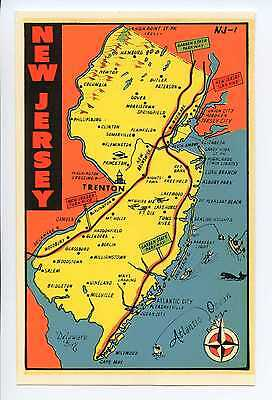 Vintage NEW JERSEY travel auto window water decal 1960s