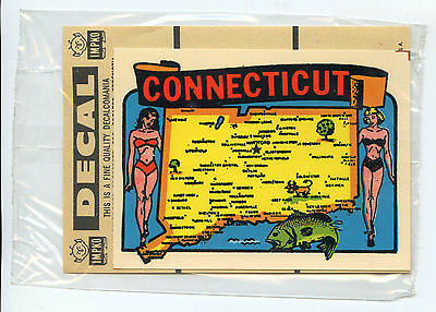 Vintage CONNECTICUT travel auto window water decal IMPKO 1960s