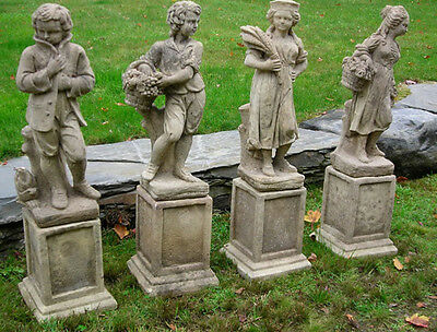 Antique English Cast Stone Garden Statues Depicting the Four Seasons