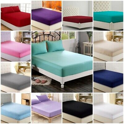 Plain Dyed Fitted Sheet 50/50 Poly Cotton Bed Sheet all sizes & colours
