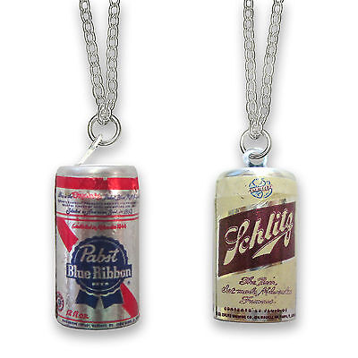 Vintage Pabst Blue Ribbon or Schlitz Beer Can Charm Necklace Vending Toy PBR NOS