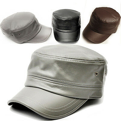 New Newsboy Military Hat Vintage Faux Leather Cap Cabbie Fashion Men KPOP Hiking