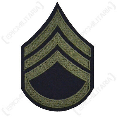 Staff Sergeant Stripes Olive - WW2 Repro American Rank Patch Badge Army SGT New