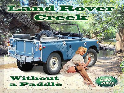 Land Rover Creek, Classic mk1, Off Road 4x4, Pin Up Girl, Small Metal Tin Sign