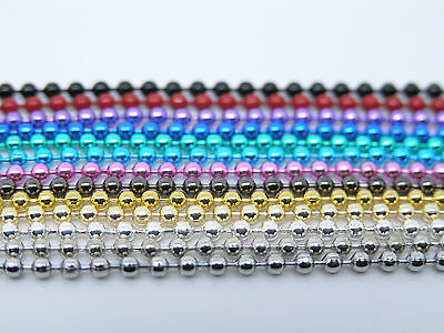 14 Colors--5pcs 18'' of 2.4mm Beads Ball Chain Necklace with Connectors