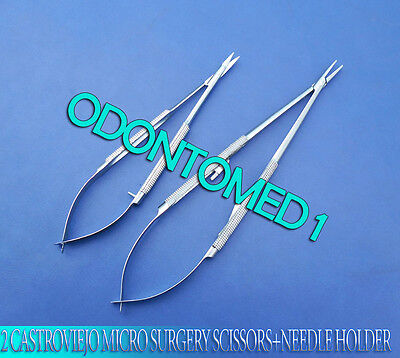 2 Pieces Castroviejo Micro Surgery Scissors+Needle Holder Surgical Instruments