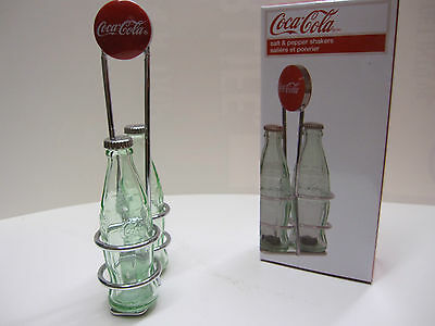 Coca-Cola Salt & Pepper Shakers with Wire Rack - BRAND NEW