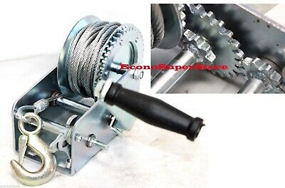 2200Lbs Dual Gear Hand Winch Towing Boat Trailer w/ 33FT Steel Cable Hand Crank