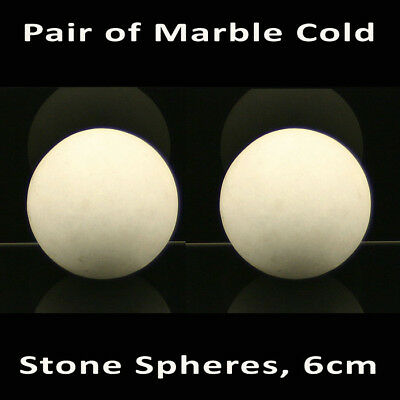 HOT STONE MASSAGE Pair of Marble Cold Stone Spheres 6cm