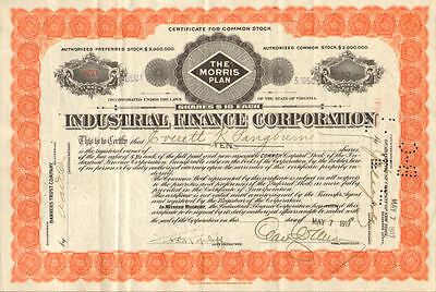 Industrial Finance Corporation > The Morris Plan > 1917 stock certificate share