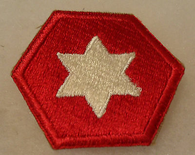 Wwii Original 1St Design Variant 6Th Army Patch With White Star No Glow