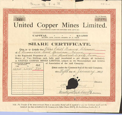 United Copper Mines Limited > 1929 British mining stock certificate share London