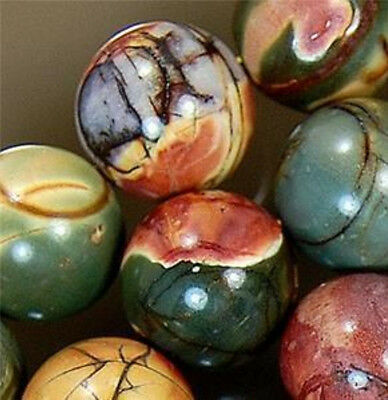 Natural 8Mm Multicolor Picasso Jasper Gemstone Round Ball Loose Bead Strand 15""