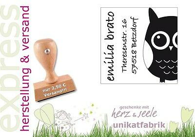 """♥ Stempel individuell """"Eule"""" mit Adresse ♥"""
