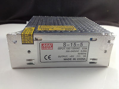 Input 100-240VAC Output 5VDC 3A 15W Regulated Switching Power Supply