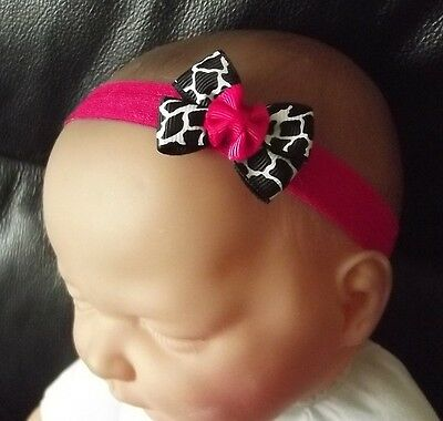 Baby Girl/reborn Doll Animal Print Hot Pink Double Bow Headband All Size