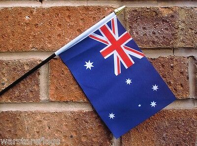 "AUSTRALIA HAND WAVING FLAG Small 6"" x 4"" with black pole Australian flags"