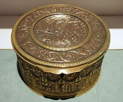 French Box 19C Gilt Metal & Bronze  Large  Round Roman Design With Lid