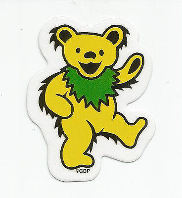"(#91) MINI YELLOW Grateful Dead DANCING BEAR 2-1/2"" sticker (AF704) ©GDP"