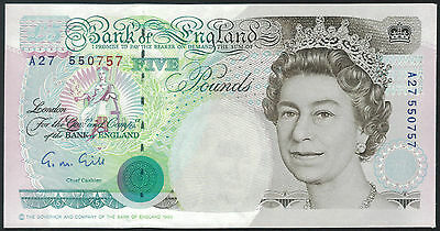 TMM* Great Britain Banknote QEII 5 Pounds 1990-91 P382a AU Gill