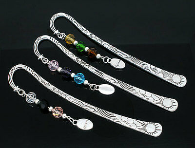 "3 Charm Bookmarks W/Crystal ""Believe"" Dangle Bead 123mm"