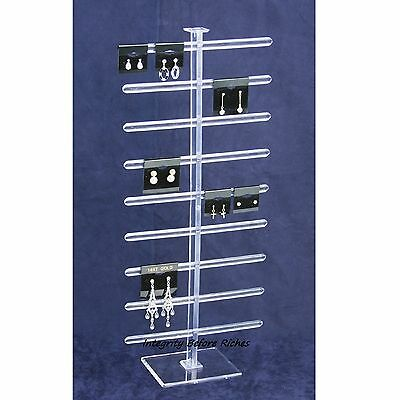 """Earring Display Stand Holds 36 2 x 2 Cards 8 1/4 x 19"""" Clear Acrylic"""