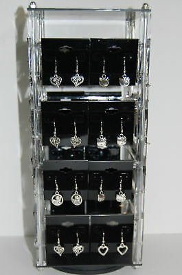 """Revolving Acrylic Earring Display Stand Holds 32 2"""" x 2"""" cards"""