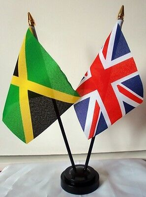 UNION JACK & JAMAICA friendship table flag set WITH flags & base uk jamaican