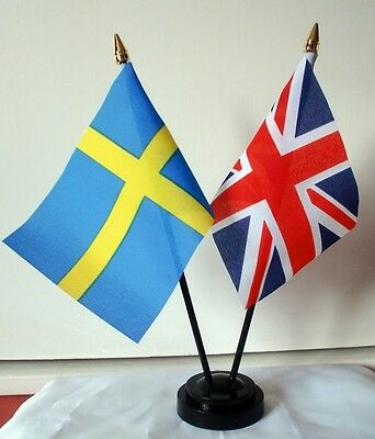 UNION JACK & SWEDEN friendship table flag flags and base SWEDISH BRITISH BRITAIN