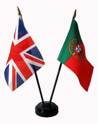 PORTUGAL & UNION JACK friendship table flag set with flags and base Portuguese