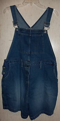WOMENS / JUNIORS Announcements MATERNITY DISTRESSED BLUE JEAN SHORTALLS  SIZE L