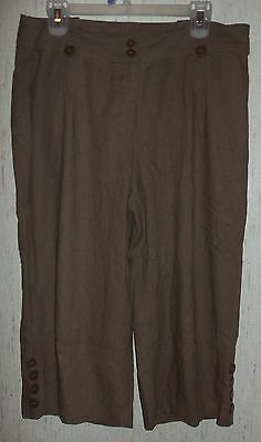 WOMENS Christopher & Banks BROWN LINEN BLEND CROPPED PANTS / CAPRIS   SIZE 10