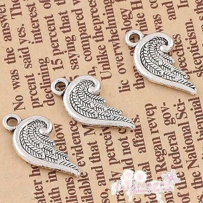 Lots 30 Pcs Old Silver Plated Double-sided Half Piece Of Bent Feather Charms