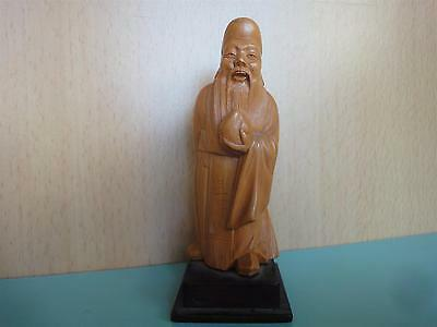 Vintage Chinese China Wood Carving Figurine Sculpture of an old man