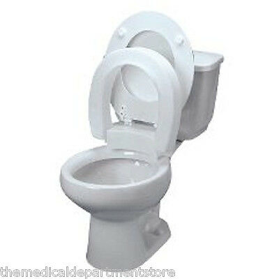 New Style Hinged Elevated Toilet Seat Riser - Select Round or Elongated