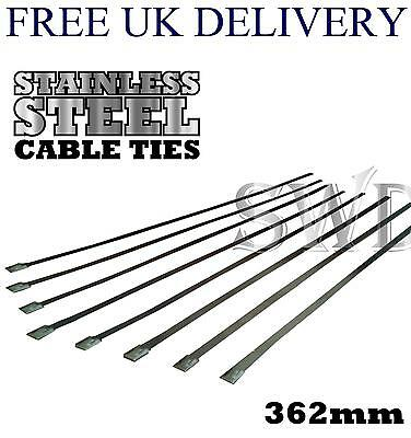 8x 362mm Stainless Steel Cable Ties for Exhaust Heat Wrap Bandage Metal Straps