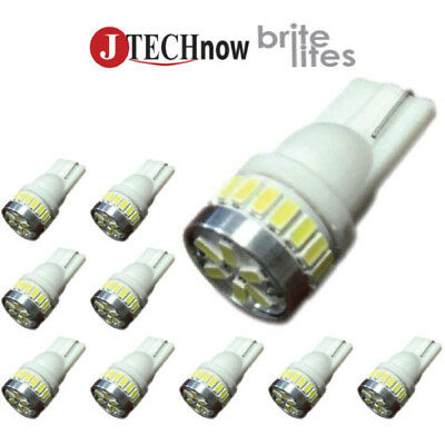 Jtech 10x T10 24-SMD LED White Extremely Bright 194 168 2825 W5W Car Light Bulb