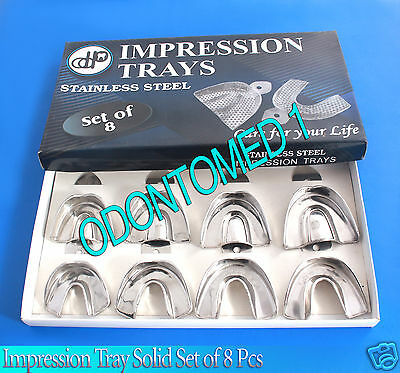 Impression Tray Solid Set of 8 - Stainless Steel Kit- New-ODM