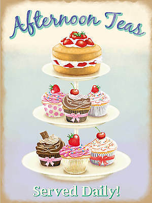 Afternoon Tea, Cake Stand, Kitchen, Cafe, Restaurant, Pub, Large Metal Tin Sign