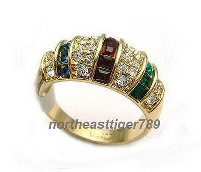 Red Green Blue Zircon CZ Crystal Ruby Sapphire 18KGP Ring Size: 7.8.9