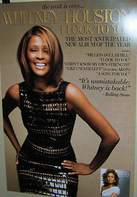 WHITNEY HOUSTON  I LOOK TO YOU Original Double Sided Promo Card Very NICE