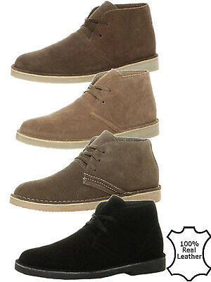 Mens Classic Leather Suede Chukka Desert Chelsea Lace Up Ankle Boots Shoes Size