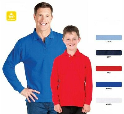 KIDS Long Sleeve 210 Polo Shirt BOYS GIRLS Top 5 Colours Size 4-14 New 2KLP
