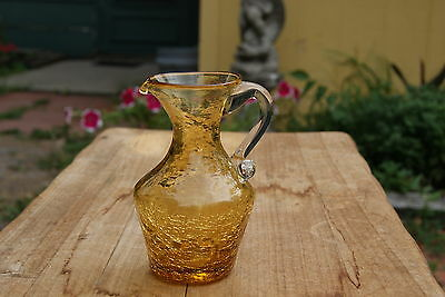 VINTAGE........AMBER  CRACKLE GLASS...CLEAR  APPLIED HANDLE...PITCHER