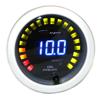 DEPO racing 52 mm Smoked LED Dual Function Turbo Boost and Oil Pressure Gauge