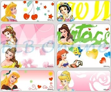 c17761128d99 36 X DISNEY Princess Personalised Name Stickers, Labels ,Tags, Large 46mm x  18mm