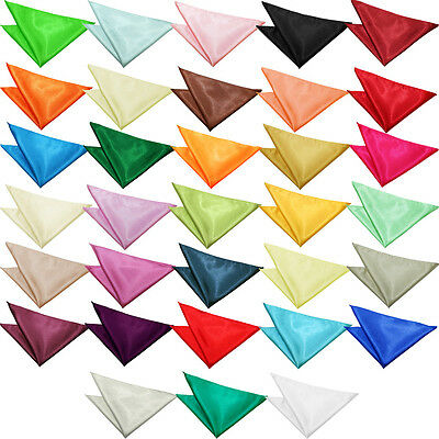 Satin Solid Plain Suit Pocket Square Wedding Party Mens Hanky Handkerchief